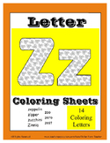 Alphabet Coloring Pages for the Letter Z ~ 7 Beginning Sound Pictures for Z