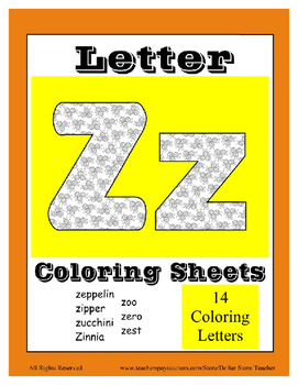 Alphabet Coloring Pages for the Letter Z ~ 7 Beginning Sou