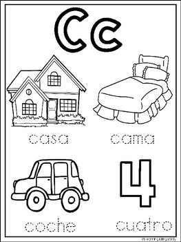 Alphabet Coloring Pages in Spanish by Learning Bilingually