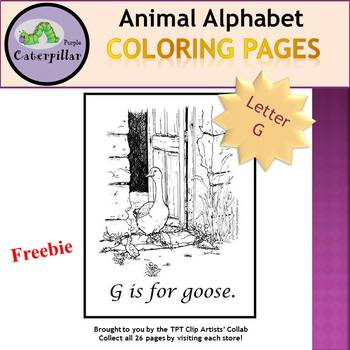 Animal Alphabet Coloring Pages - G is for Goose  #tptclipartistscollab