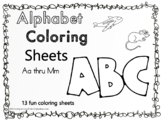 Alphabet  Coloring Sheets Aa thru Mm