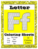 Alphabet Coloring Sheets Beginning Sound Pictures for letter F ~ Reading Center