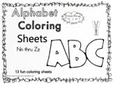 Alphabet  Coloring Sheets Nn Thru Zz