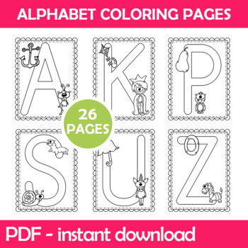 Alphabet Coloring Worksheets Instant Download PDF; Preschool, Kindergarten