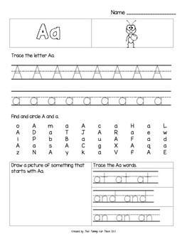 Alphabet Common Core Practice Pages