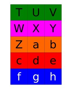 Alphabet Concentration Game (both large and small letters)