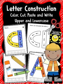 Alphabet Construction- Color, Cut, Paste and Write Upper and Lowercase Letters