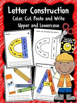 Alphabet Construction- Color, Cut, Paste and Write Upper a