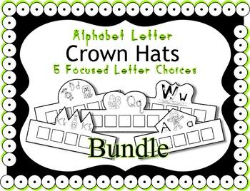 Alphabet Crown Bundle ~ Merging Zoo Phonics & HWT ~ 26 letters ~ 5 Crowns Each