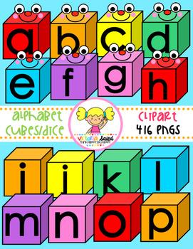 Alphabet Cubes/Dice Clipart