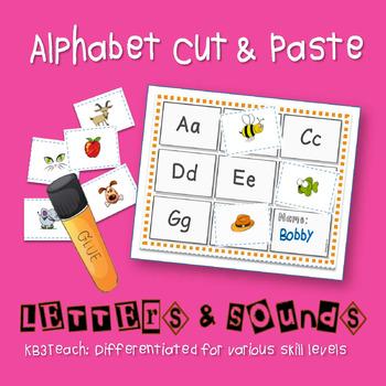 Alphabet Sounds Cut & Paste Activity (Differentiated for P