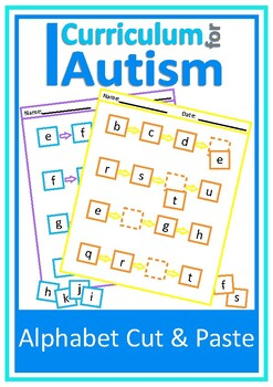 Alphabet Cut & Paste Worksheets, Autism, Special Education
