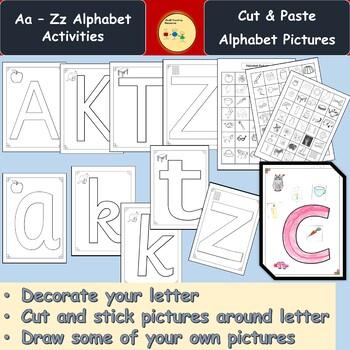 Alphabet Cut/Stick Activity Upper & Lower Case Letters, Pictures, Teachers Notes