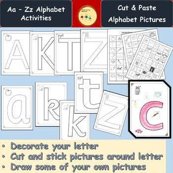 Alphabet Cut/Stick Activity Upper & Lower Case Letters, Pictures, Teachers Notes