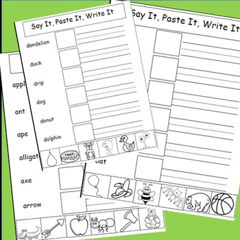 Free Alphabet Activities, Cut and Paste, Say It, Paste It, Write It, Free Sample