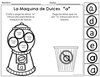 Alphabet Letter Identification and Sort Cut and Paste (Spanish)