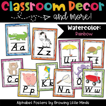 Alphabet Posters- Rainbow Watercolor Theme with D'Nealian font