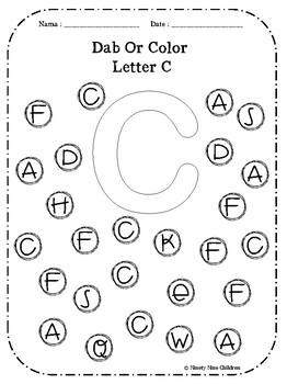 alphabet dab or color by ninety nine children teachers pay teachers. Black Bedroom Furniture Sets. Home Design Ideas