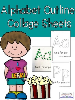Alphabet Decorate and Collage Sheets (ABC art for Preschool and Kindergarten)