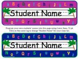 Alphabet Theme: Editable Name Tags for Desks & Labels (Chi