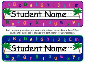 Alphabet Theme: Editable Name Tags for Desks & Labels (Chicka Chicka Boom Boom)