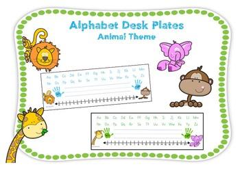 Alphabet Desk Plate- Green & Blue Animal Theme