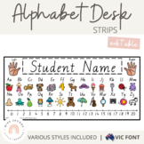 Victorian Modern Cursive Alphabet Desk Strips with Number Line {Name Tags}