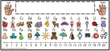 Victorian Modern Cursive Alphabet Desk Strips with Number Line {Name Tags}