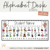 Alphabet Desk Strips with Number Line {Student Name Tags - Editable}