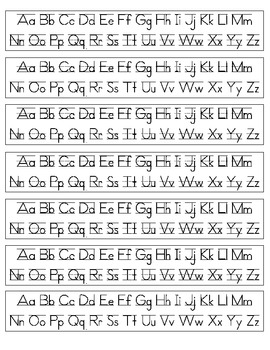 alphabet desk strips print cursive by melissa larrisey tpt