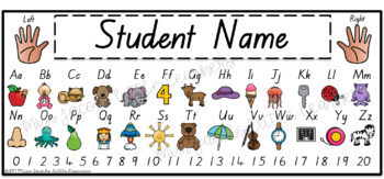 QLD Beginners Font Alphabet Desk Strips with Numbers {Student Name Tags}