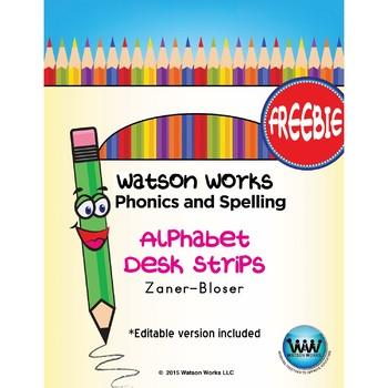 Alphabet Desk Strips for Watson Works Phonics & Spelling ~ Zaner-Bloser