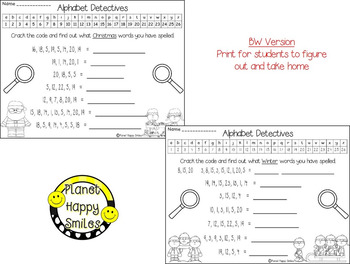 Christmas Activity ~ Christmas and Winter Alphabet Detectives (Crack the Code)