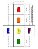 Alphabet Dice Set upper case in color & black & white primary prek