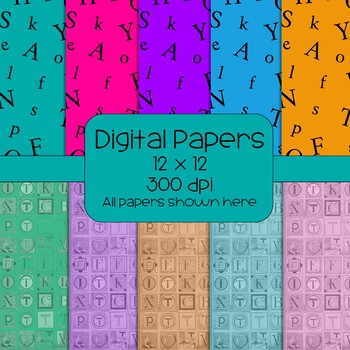Alphabet Digital Papers  - retro - 300 dpi 12x12