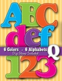 Alphabet Digital Stamp Clip Art - Brights – 7 Alphabets –