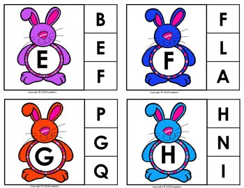 Alphabet Discrimination Activities - Easter Bunny Rabbit Theme