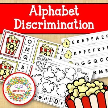 Alphabet Discrimination Activities - Popcorn Theme
