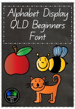 Alphabet Display - Black Chalkboard / QLD Beginners Font with Pictures