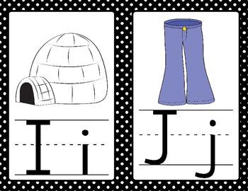 Alphabet Display: Black and White Polka Dots
