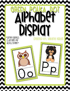 Alphabet Display: Lime Green Polka Dots