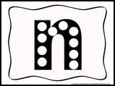 "Alphabet Do a Dot lower case ""n"".  Printable preschool wor"