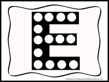 "Alphabet Do a Dot upper case ""E"".  Printable preschool worksheet for daycare."