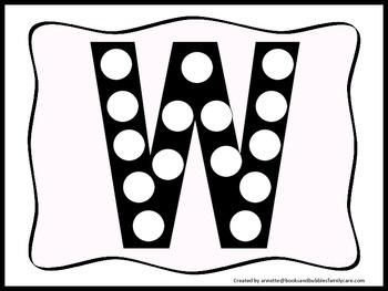 "Alphabet Do a Dot upper case letter ""W"". Printable preschool daycare worksheet."