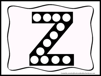 "Alphabet Do a Dot upper case letter ""Z"". Printable preschool daycare worksheet."