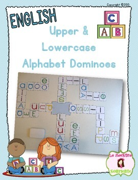 Alphabet Dominoes: Uppercase and Lowercase Matching (English)