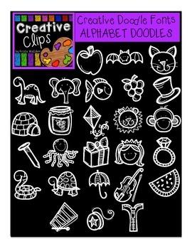 Alphabet Doodle Font {Creative Clips Digital Clipart}