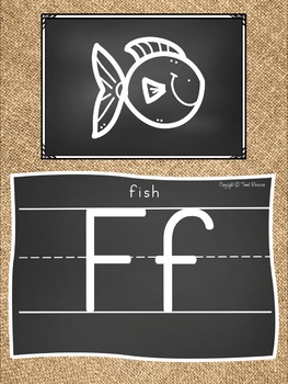 Alphabet Doodle Posters in Chalkboard and Burlap Theme