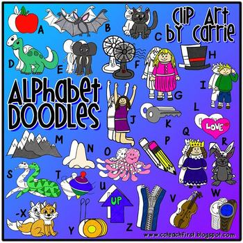 Alphabet Doodles Digital Clip Art (BW and full-color PNG images)