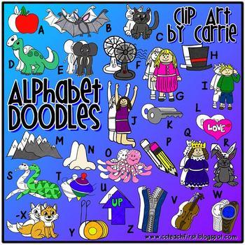 Alphabet Doodles Digital Clip Art (BW and full-color PNG images)